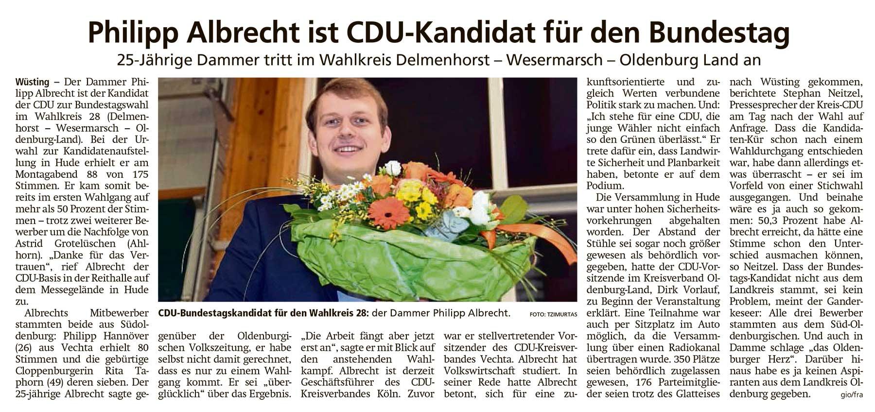 Philipp Albrecht ist CDU-Kandidat für den Bundestag25-Jährige Dammer tritt im Wahlkreis Delmenhorst-Wesermarsch-Oldenburg-Land anArtikel vom 17.02.2021 (WZ)