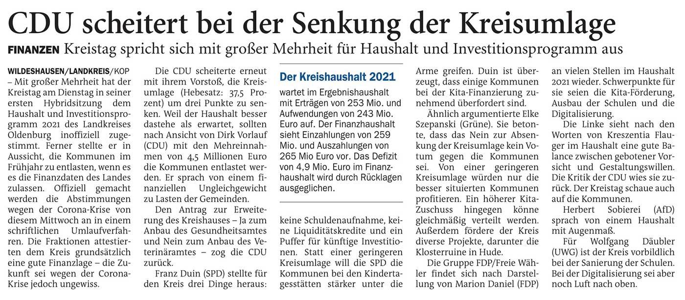 CDU scheitert bei der Senkung der KreisumlageFinanzen: Kreistag spricht sich mit großer Mehrheit für Haushalt und Investitionsprogramm ausArtikel vom 17.02.2021 (NWZ)