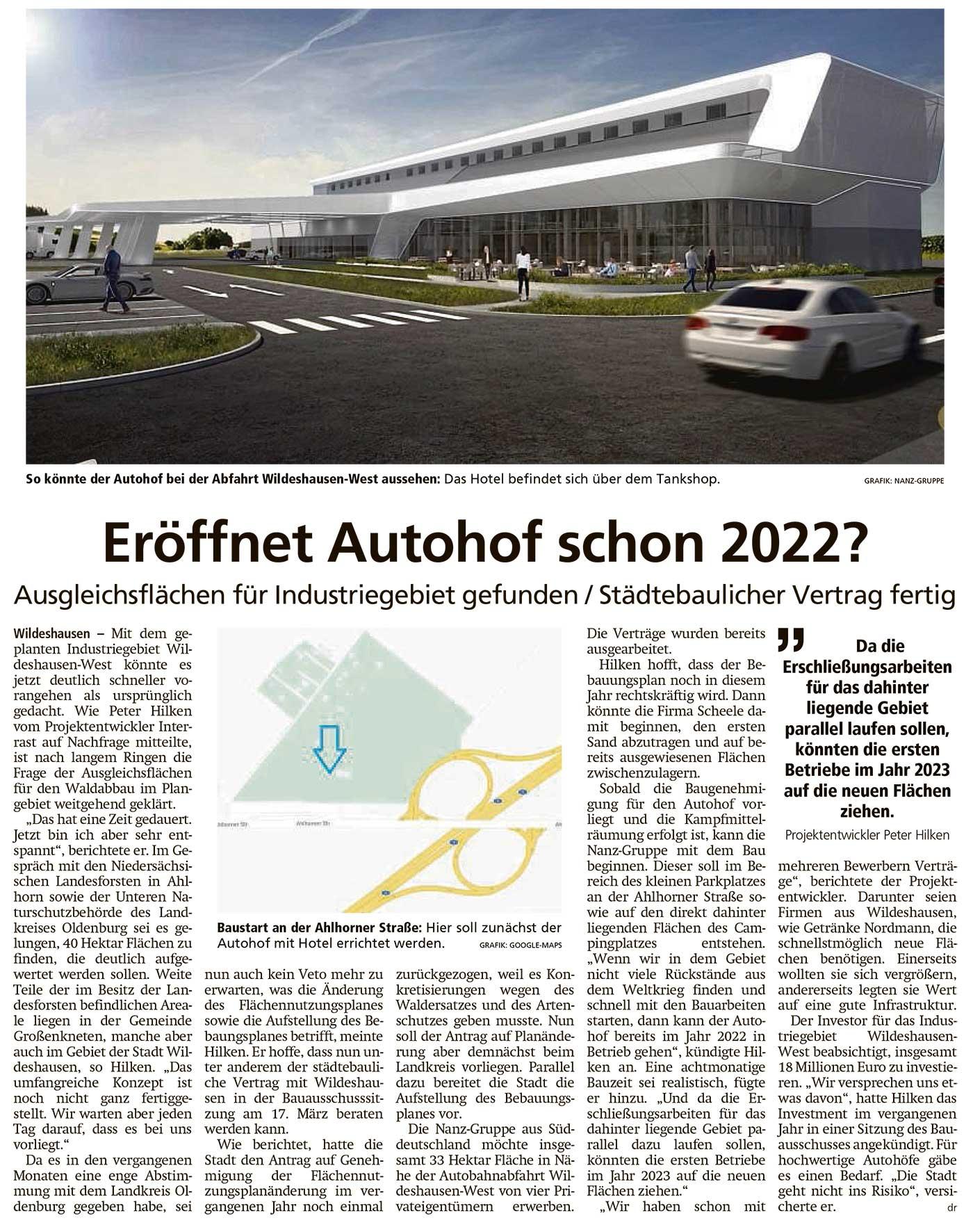 Eröffnet Autohof schon 2022?Ausgleichsflächen für Industriegebiet gefunden / Städtebaulicher Vertrag fertigArtikel vom 18.02.2021 (WZ)