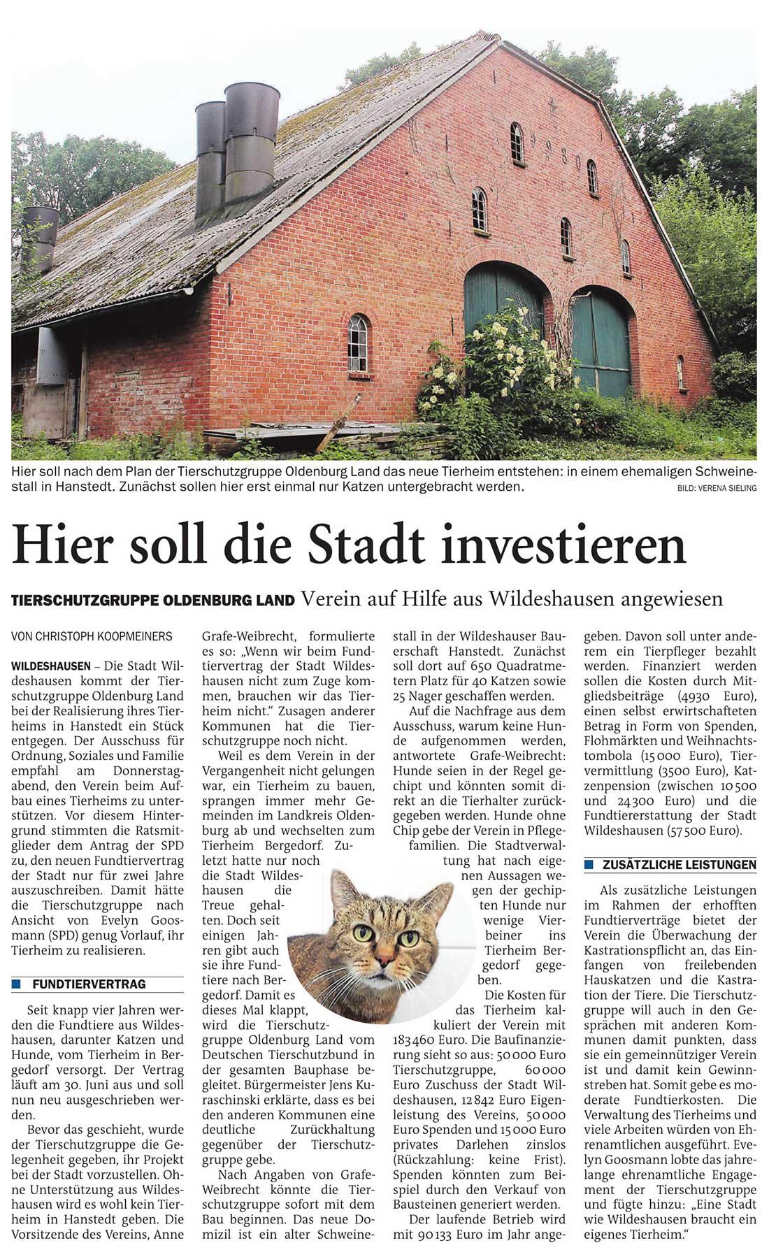Hier soll die Stadt investierenTierschutzgruppe Oldenburg Land: Verein auf Hilfe aus Wildeshausen angewiesenArtikel vom 22.02.2021 (NWZ)