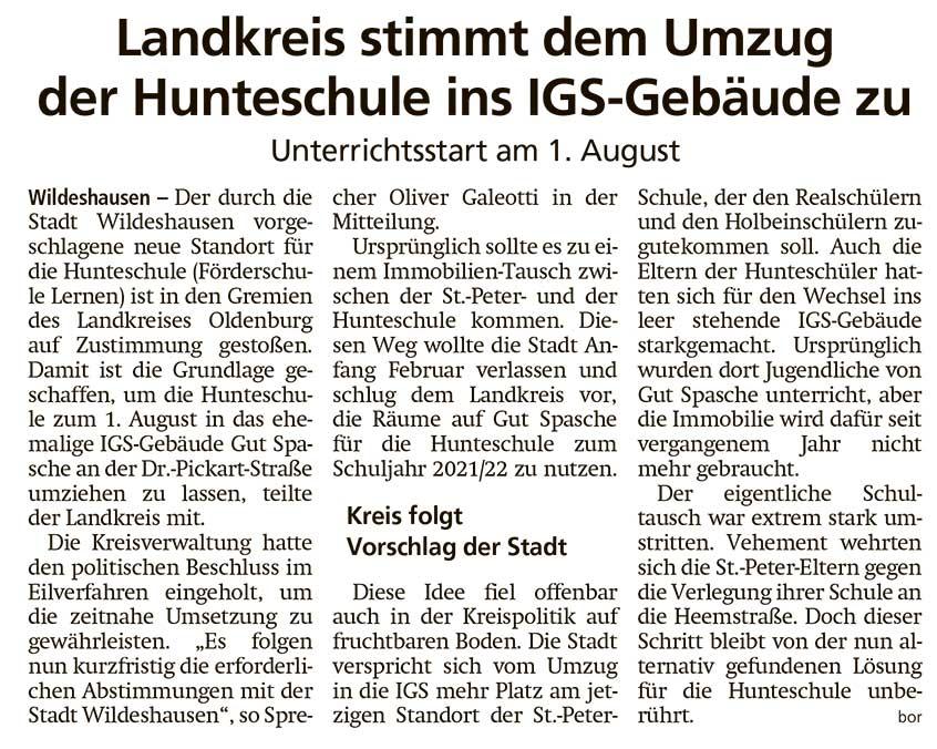 Landkreis stimmt dem Umzug der Hunteschule ins IGS-Gebäude zuUnterrichtsstart am 1. AugustArtikel vom 24.02.2021 (WZ)