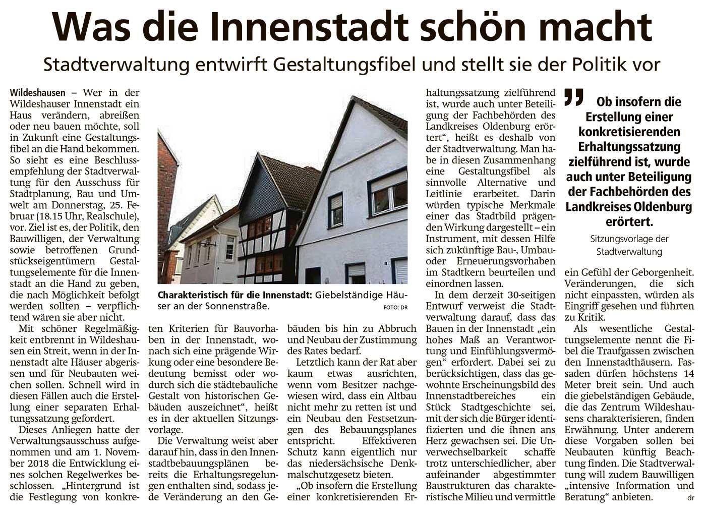 Was die Innenstadt schön machtStadtverwaltung entwirft Gestaltungsfibel und stellt sie der Politik vorArtikel vom 24.02.2021 (WZ)