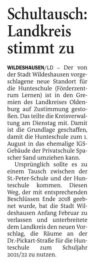 Schultausch: Landkreis stimmt zuDer von der Stadt Wildeshausen vorgeschlagene neue Standort für die Hunteschule...Artikel vom 24.02.2021 (NWZ)