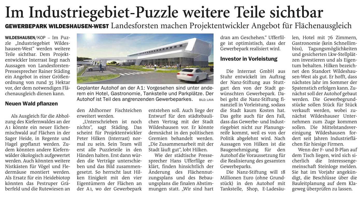 Im Industriegebiet-Puzzle weitere Teile sichtbarGewerbepark Wildeshausen-West: Landesforsten machen Projektentwickler Angebot für FlächenausgleichArtikel vom 24.02.2021 (NWZ)