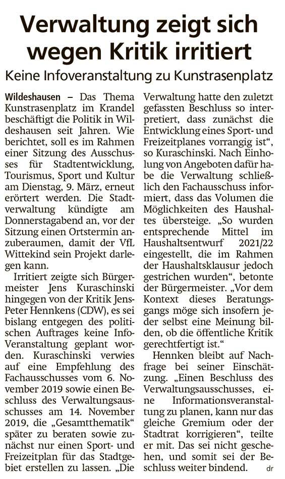 Verwaltung zeigt sich wegen Kritik irritiertKeine Infoveranstaltung zu KunstrasenplatzArtikel vom 27.02.2021 (WZ)