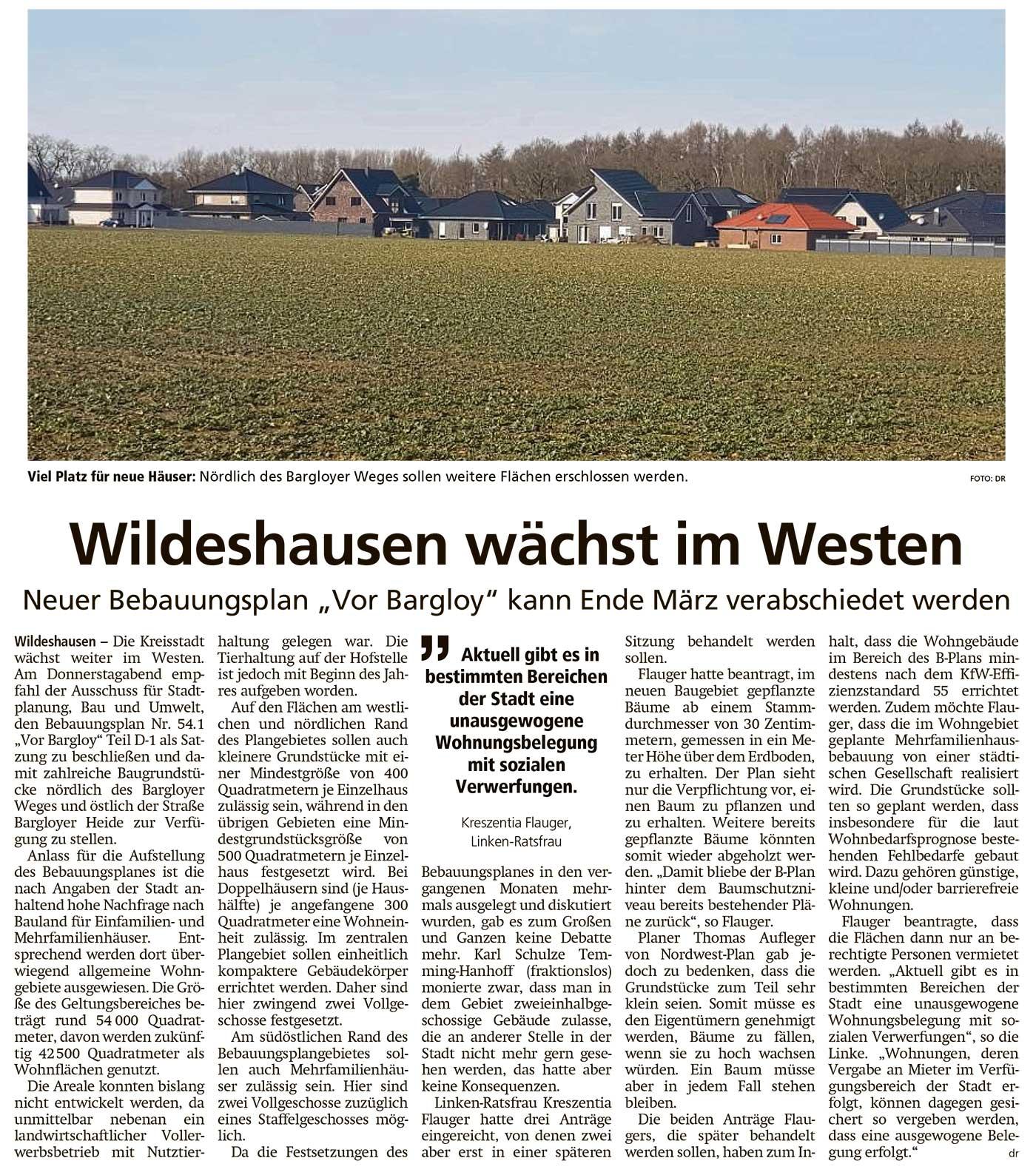Wildeshausen wächst im WestenNeuer Bebauungsplan 'Vor Bargloy' kann Ende März verabschiedet werdenArtikel vom 27.02.2021 (WZ)