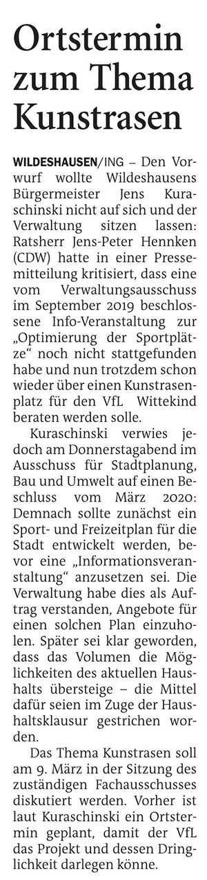 Ortstermin zum Thema KunstrasenDen Vorwurf wollte Wildeshausens Bürgermeister...Artikel vom 27.02.2021 (NWZ)