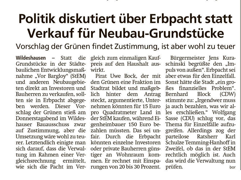 Politik diskutiert über Erbpacht statt Verkauf für Neubau-GrundstückeVorschlag der Grünen findet Zustimmung, ist aber wohl zu teuerArtikel vom 27.02.2021 (WZ)