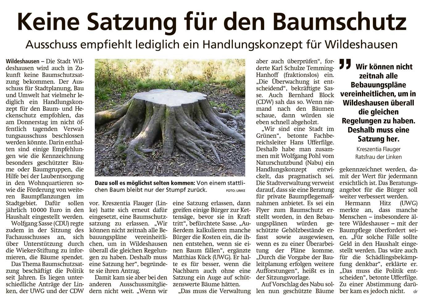 Keine Satzung für den BaumschutzAusschuss empfiehlt lediglich ein Handlungskonzept für WildeshausenArtikel vom 01.03.2021 (WZ)