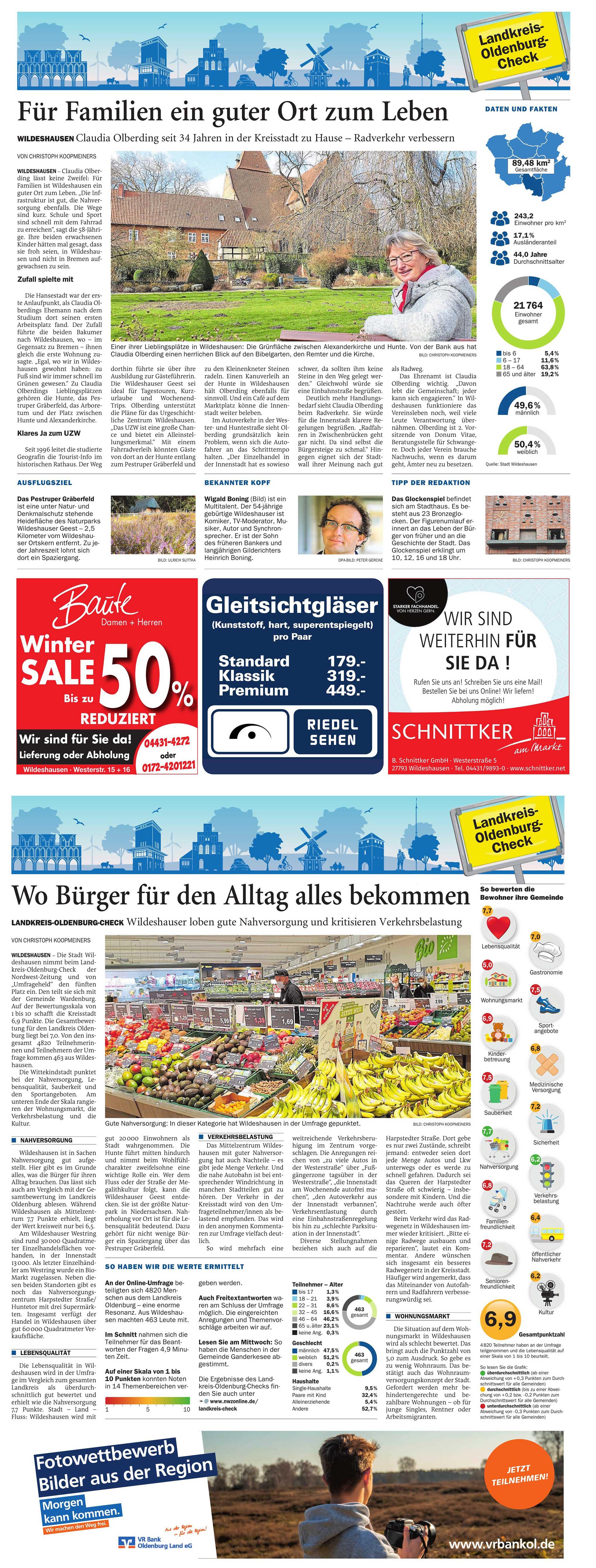 Für Familien ein guter Ort zum LebenNWZ-Aktion: Ergebnisse des Landkreis-Oldenburg-Checks für Wildeshausen / Wo Bürger für den Alltag alles bekommenArtikel vom 02.03.2021 (NWZ)