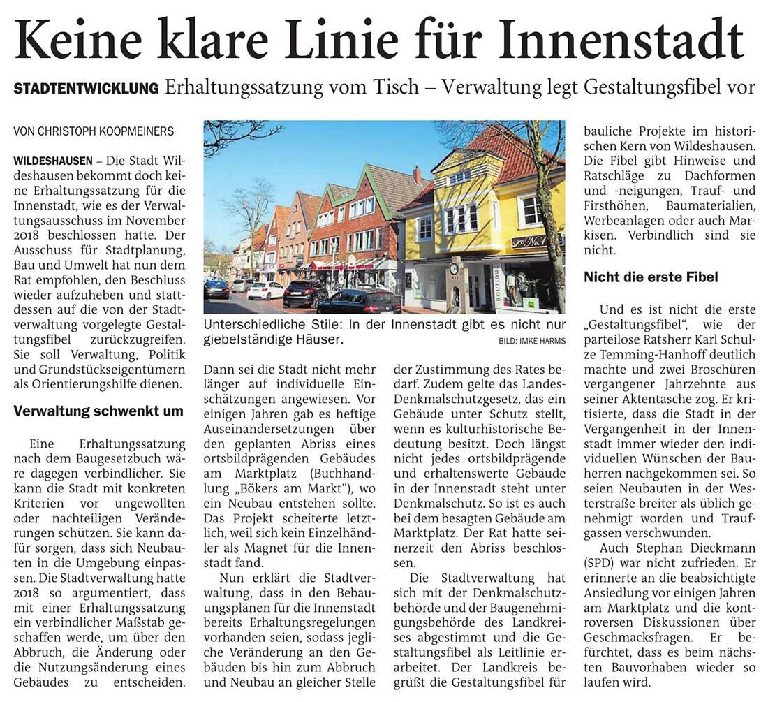 Keine klare Linie für InnenstadtStadtentwicklung: Erhaltungssatzung vom Tisch - Verwaltung legt Gestaltungsfibel vorArtikel vom 03.03.2021 (NWZ)