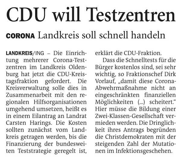 CDU will TestzentrenLandkreis // Corona: Landkreis soll schnell handelnArtikel vom 06.03.2021 (NWZ)