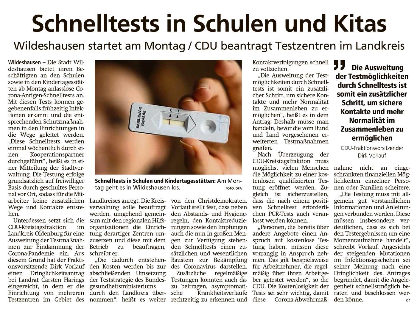 Schnelltests in Schulen und KitasWildeshausen startet am Montag / CDU beantragt Testzentren im LandkreisArtikel vom 06.03.2021 (WZ)