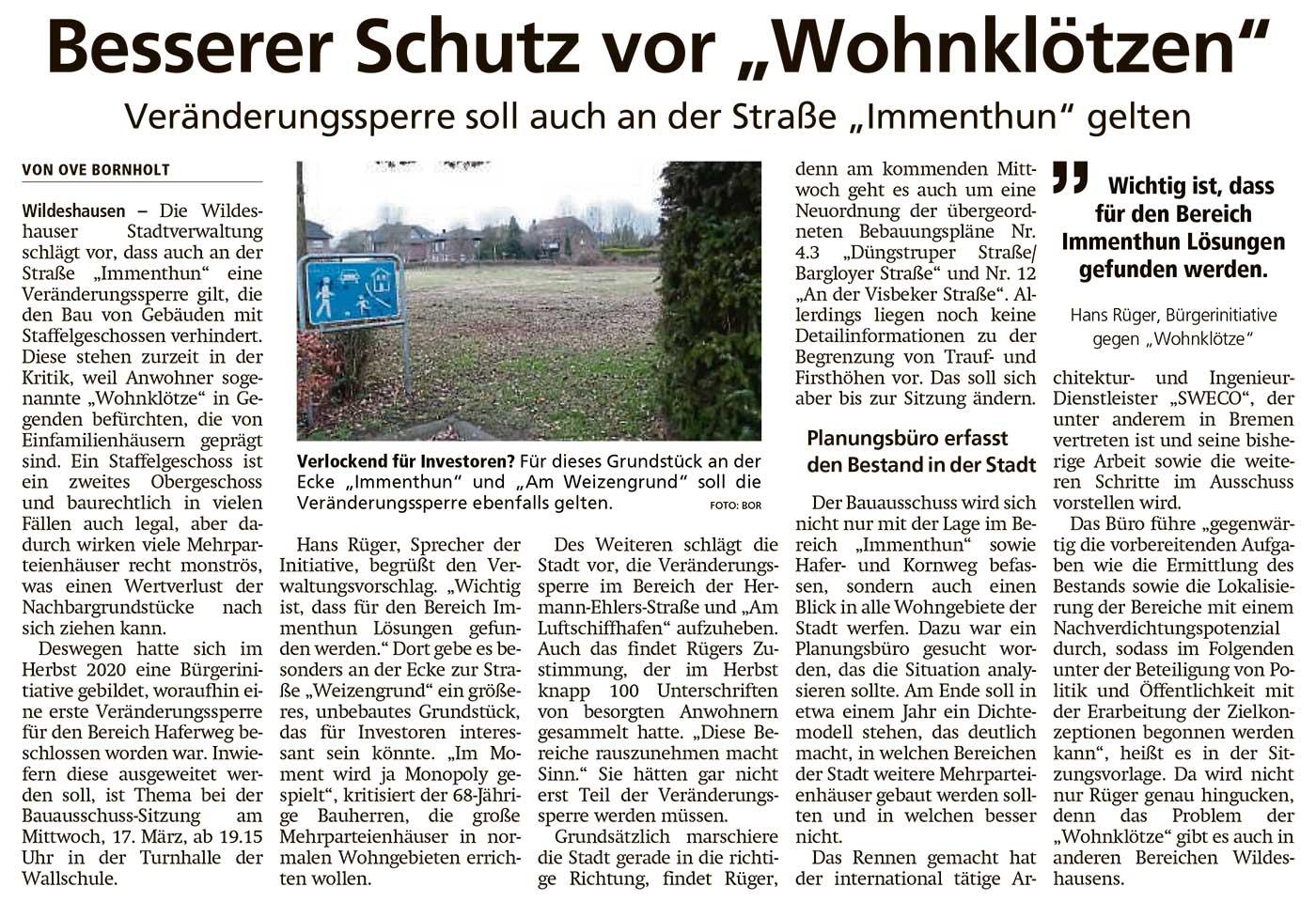 Besserer Schutz vor 'Wohnklötzen'Veränderungssperre soll auch an der Straße 'Immenthun' geltenArtikel vom 11.03.2021 (WZ)