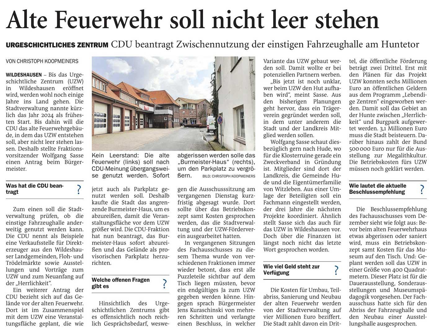 Alte Feuerwehr soll nicht leer stehenUrgeschichtliches Zentrum: CDU beantragt Zwischennutzung der einstigen Feuerwehrhalle am HuntetorArtikel vom 12.03.2021 (NWZ)