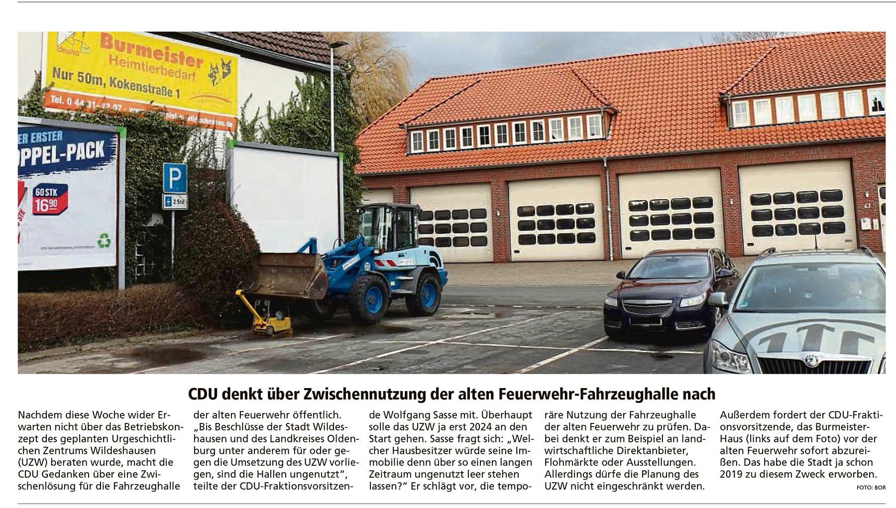 CDU denkt über Zwischennutzung der alten Feuerwehr-Fahrzeughalle nachUZW: Nachdem diese Woche wider Erwarten nicht über das Betriebskonzept...Artikel vom 13.03.2021 (WZ)