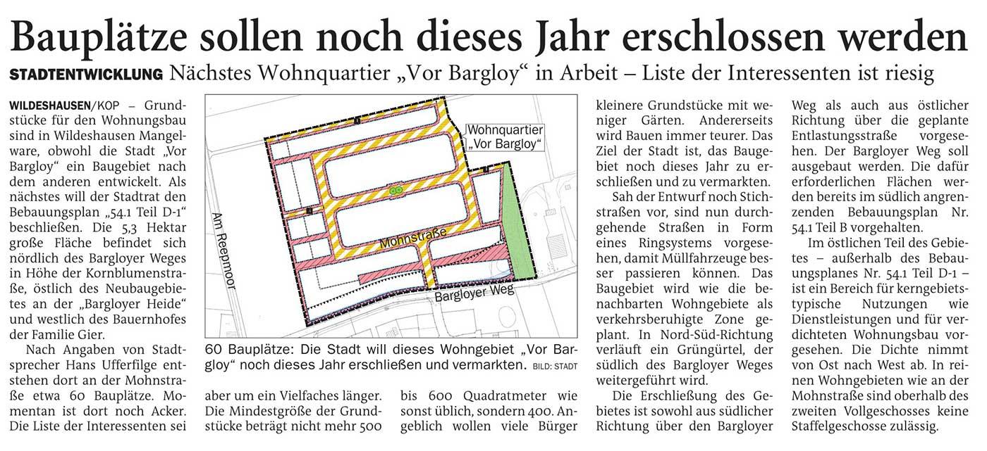 Bauplätze sollen noch dieses Jahr erschlossen werdenStadtentwicklung: Nächstes Wohnquartier 'Vor Bargloy' in Arbeit - Liste der Interessenten ist riesigArtikel vom 16.03.2021 (NWZ)
