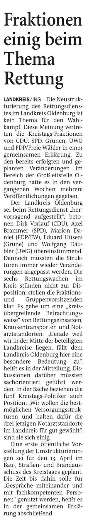 Fraktionen einig beim Thema RettungLandkreis // Die Neustrukturierung des Rettungsdienstes im Landkreis Oldenburg...Artikel vom 18.03.2021 (NWZ)