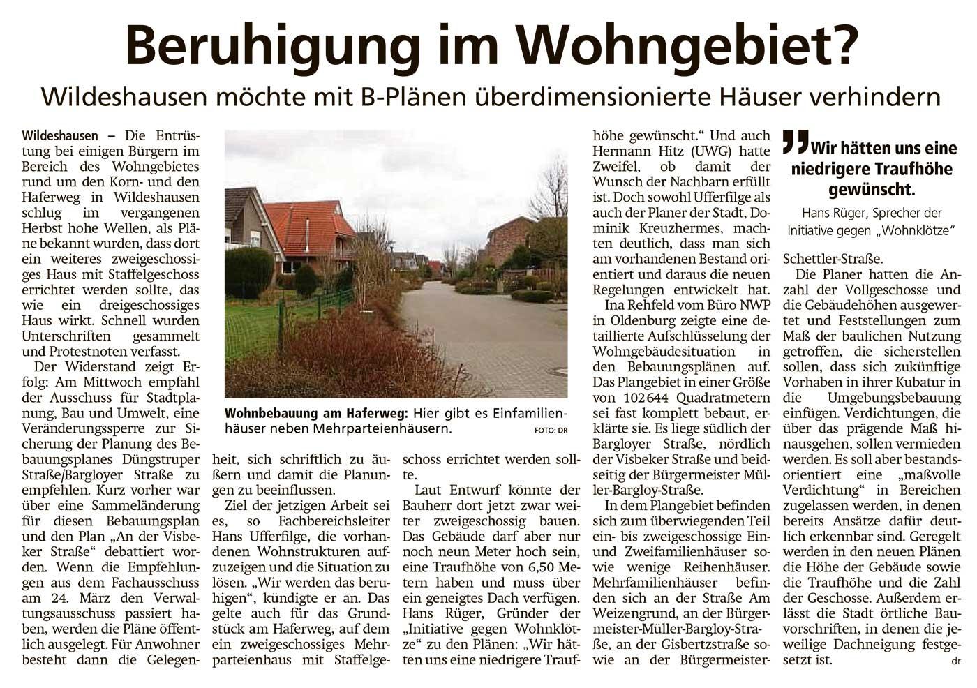 Beruhigung im Wohngebiet?Wildeshausen möchte mit B-Plänen überdimensionierte Häuser verhindernArtikel vom 19.03.2021 (WZ)
