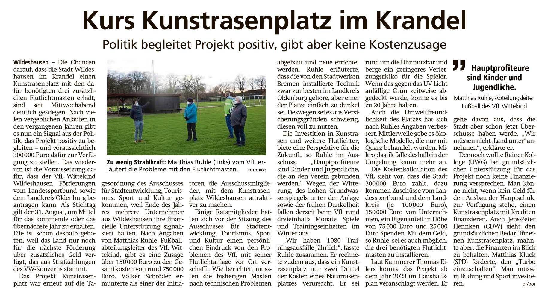 Kurs Kunstrasenplatz im KrandelPolitik begleitet Projekt positiv, gibt aber keine KostenzusageArtikel vom 19.03.2021 (WZ)