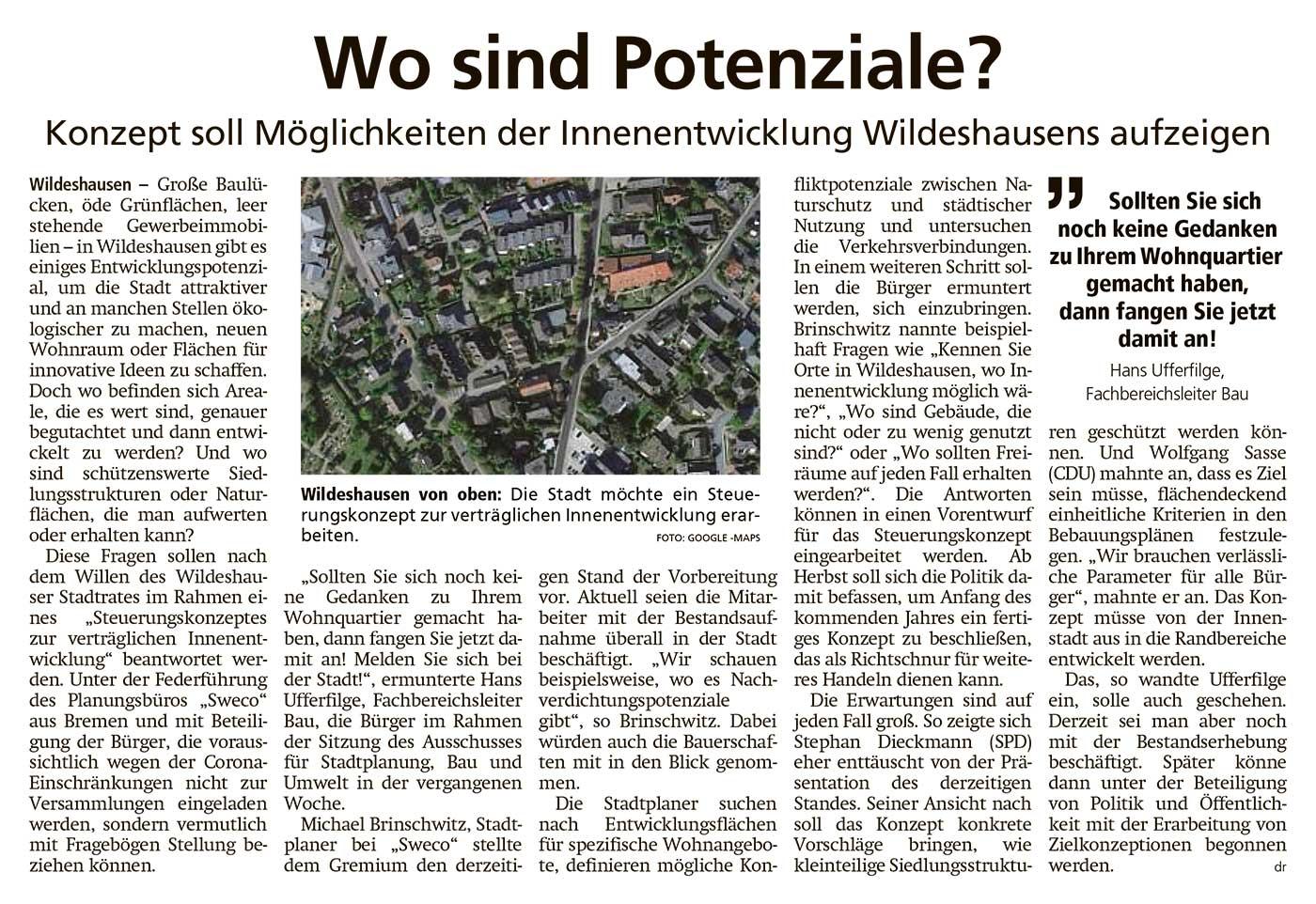 Wo sind Potenziale?Konzept soll Möglichkeiten der Innenentwicklung Wildeshausens aufzeigenArtikel vom 24.03.2021 (WZ)