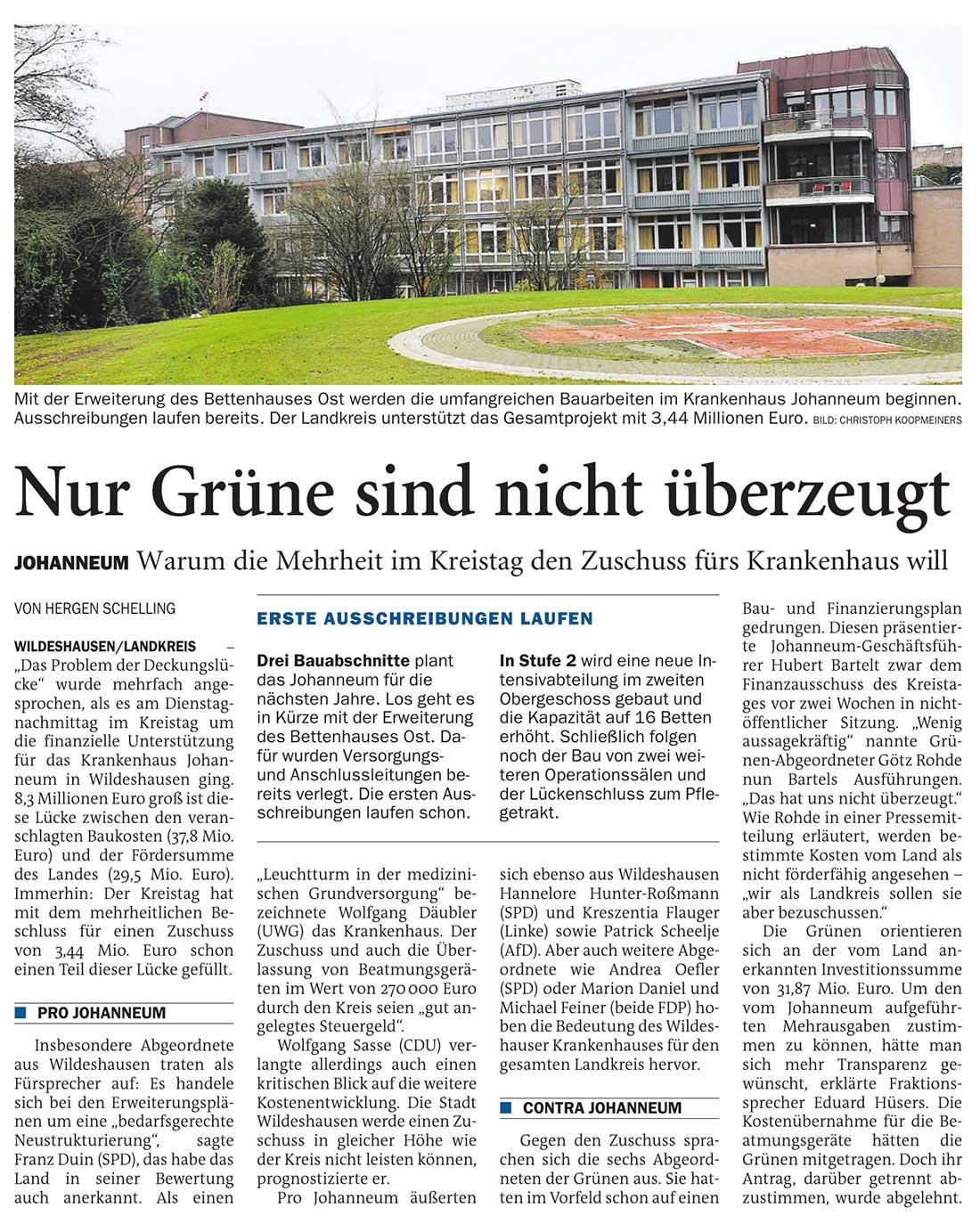 Nur Grüne sind nicht überzeugtJohanneum: Warum die Mehrheit im Kreistag den Zuschuss fürs Krankenhaus willArtikel vom 25.03.2021 (NWZ)