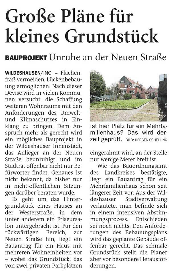 Große Pläne für kleines GrundstückBauprojekt: Unruhe an der Neuen StraßeArtikel vom 26.03.2021 (NWZ)