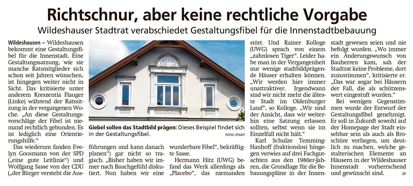 Richtschnur, aber keine rechtliche VorgabeWildeshauser Stadtrat verabschiedet Gestaltungsfibel für die InnenstadtbebauungArtikel vom 30.03.2021 (WZ)
