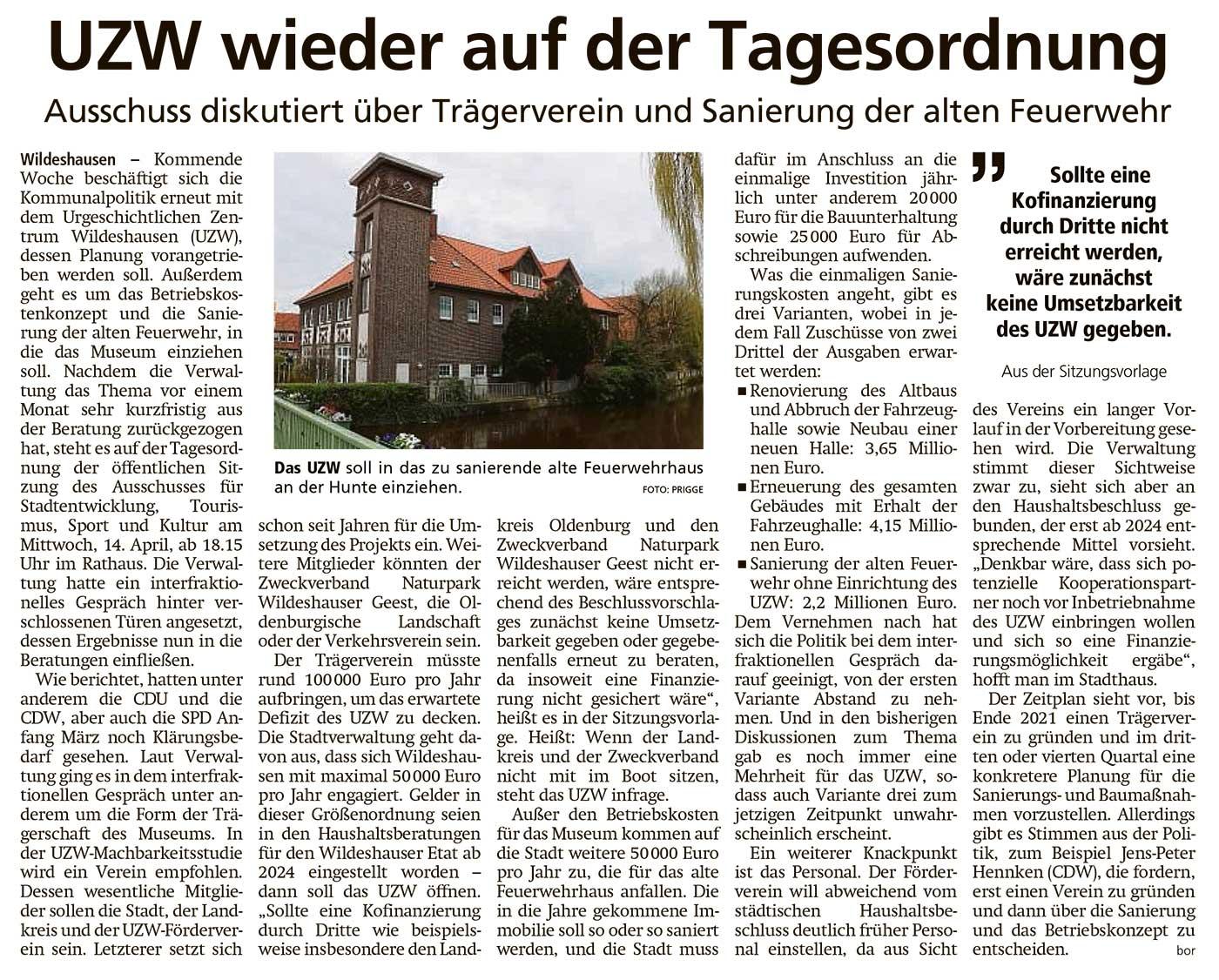 UZW wieder auf der TagesordnungAusschuss diskutiert über Trägerverein und Sanierung der alten FeuerwehrArtikel vom 09.04.2021 (WZ)
