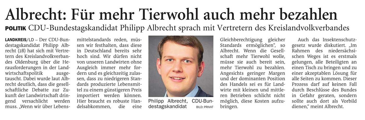 Albrecht: Für mehr Tierwohl auch mehr bezahlenLandkreis // CDU-Bundestagskandidat Philipp Albrecht sprach mit Vertretern des KreislandvolkverbandesArtikel vom 12.04.2021 (NWZ)