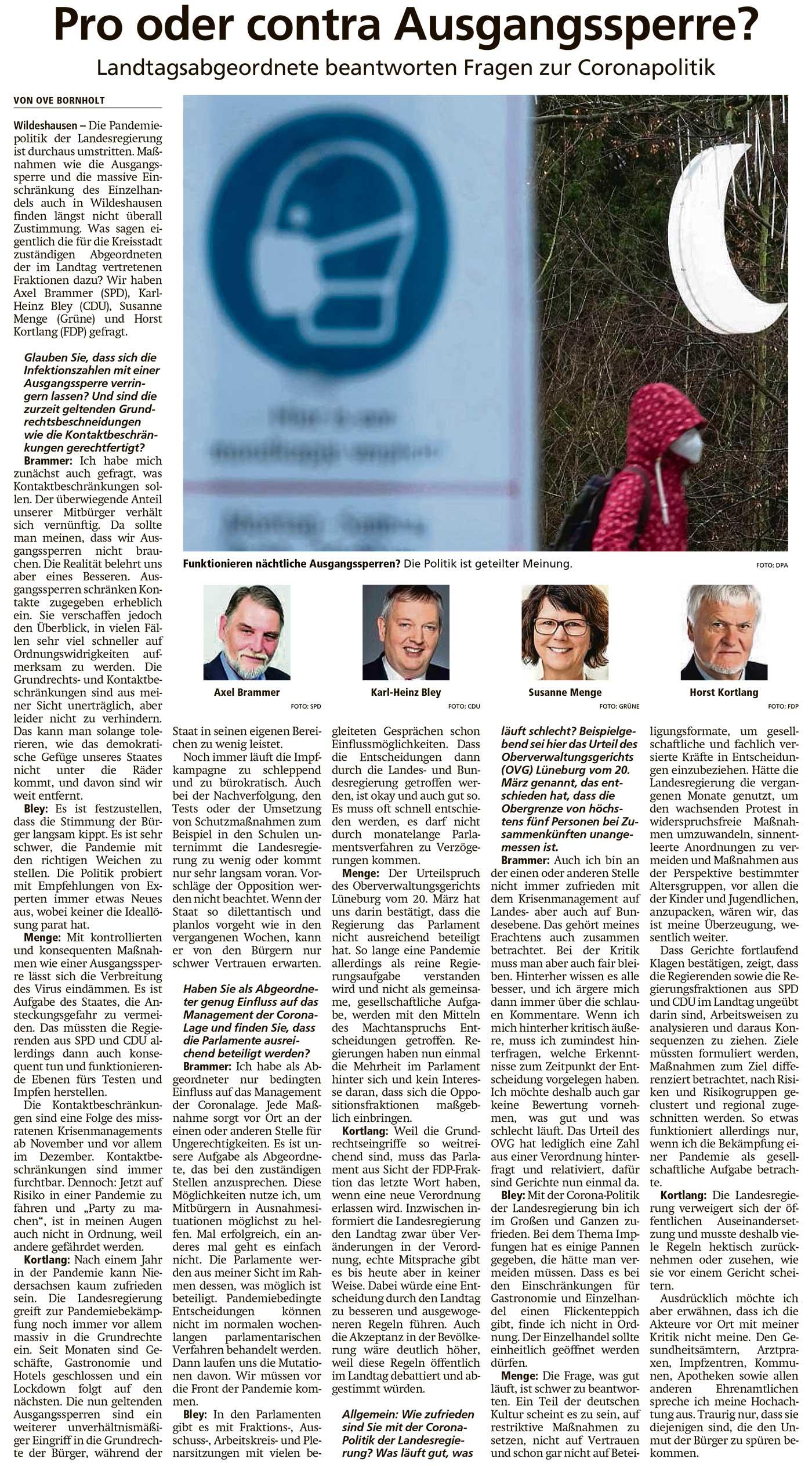 Pro oder contra Ausgangssperre?Landtagsabgeordnete beantworten Fragen zur CoronapolitikArtikel vom 12.04.2021 (WZ)