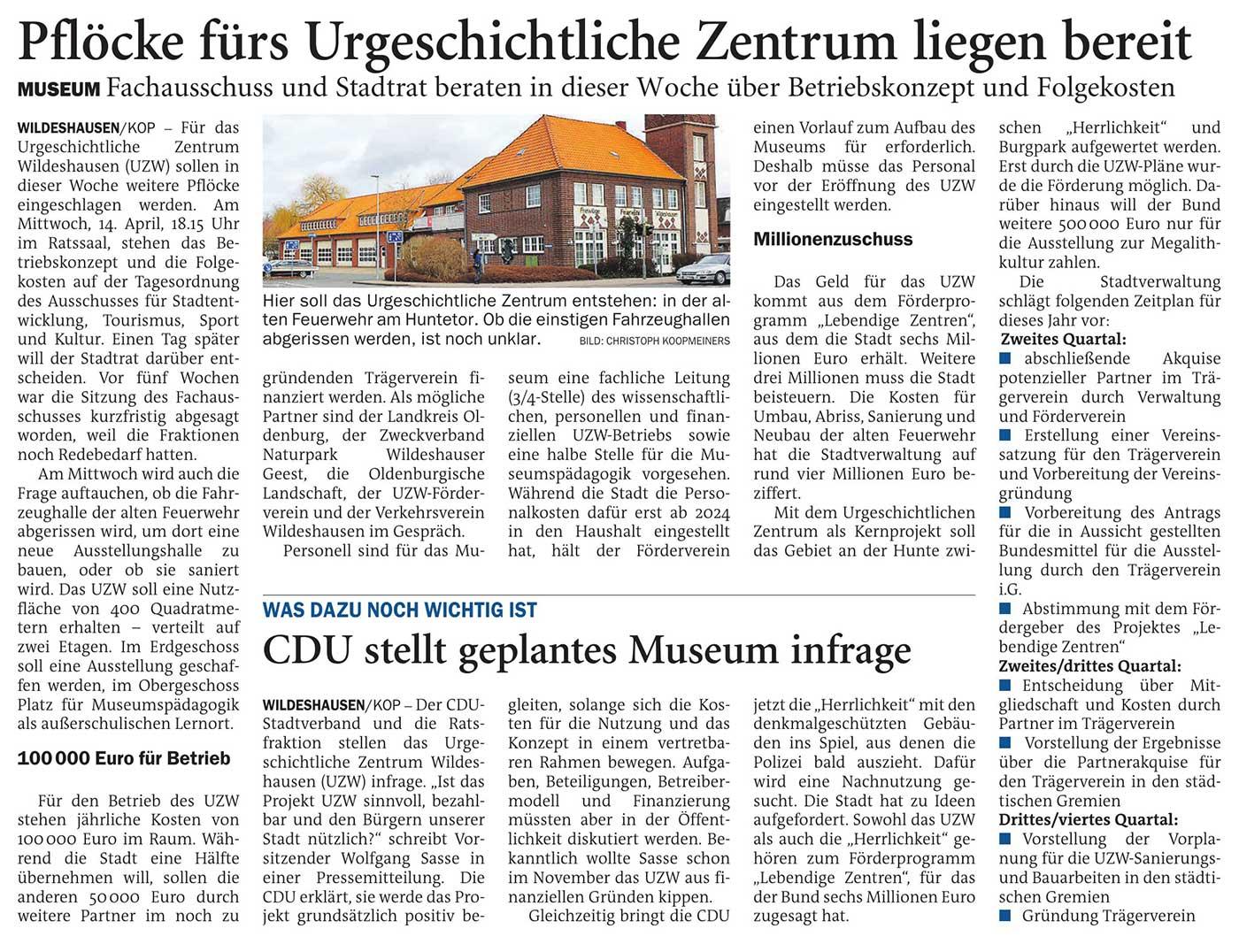 Pflöcke fürs Urgeschichtliche Zentrum liegen bereitMuseum: Fachausschuss und Stadtrat beraten in dieser Woche über Betriebskonzept und FolgekostenArtikel vom 13.04.2021 (NWZ)