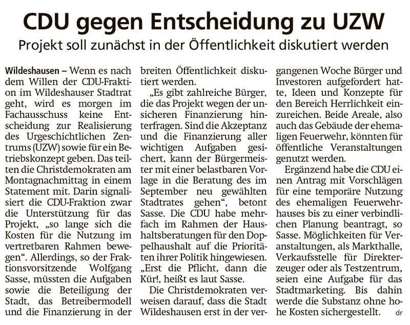 CDU gegen Entscheidung zu UZWProjekt soll zunächst in der Öffentlichkeit diskutiert werdenArtikel vom 13.04.2021 (WZ)