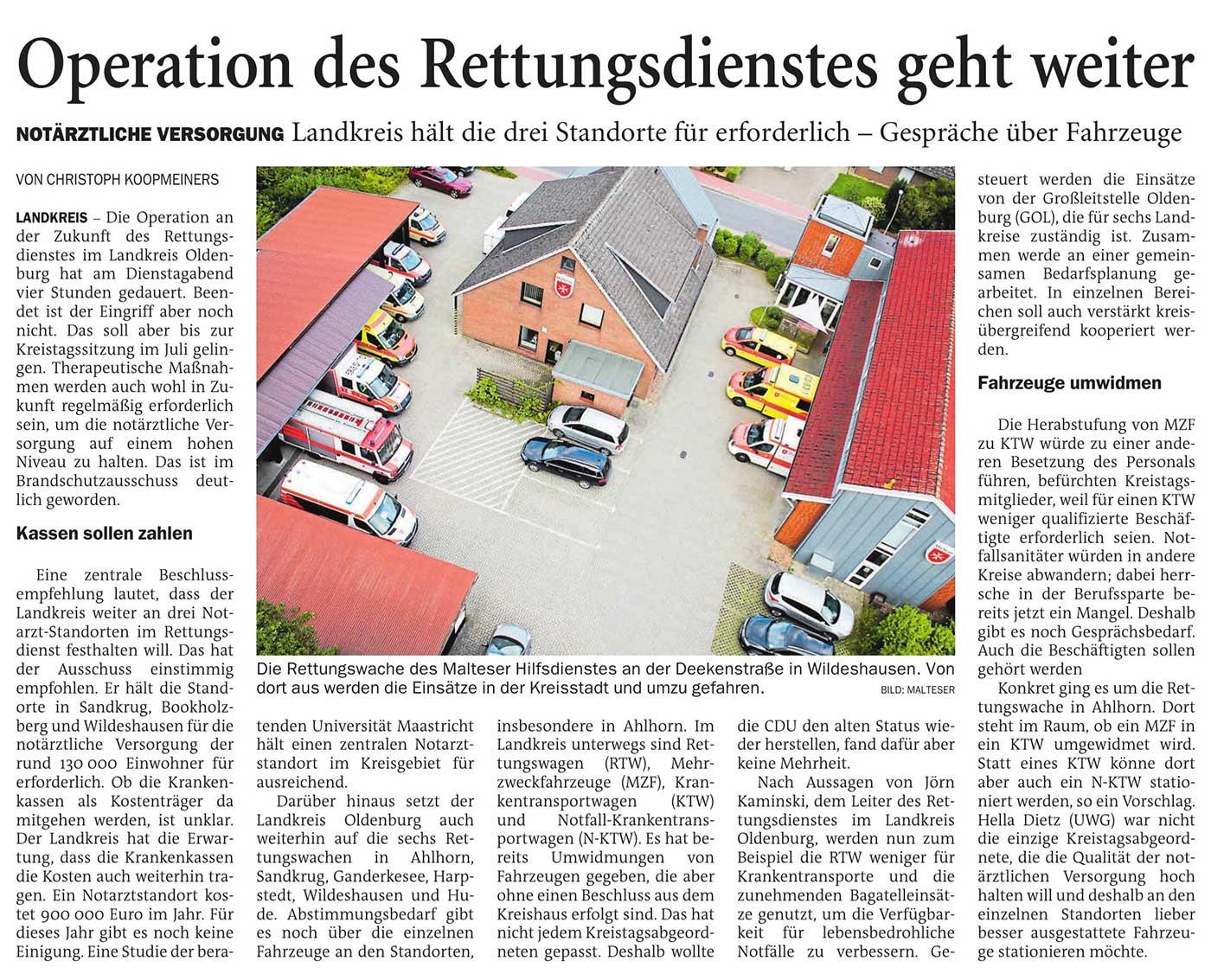 Operation des Rettungsdienstes geht weiterNotärztliche Versorgung: Landkreis hält die drei Standorte für erforderlich - Gespräche über FahrzeugeArtikel vom 14.04.2021 (NWZ)