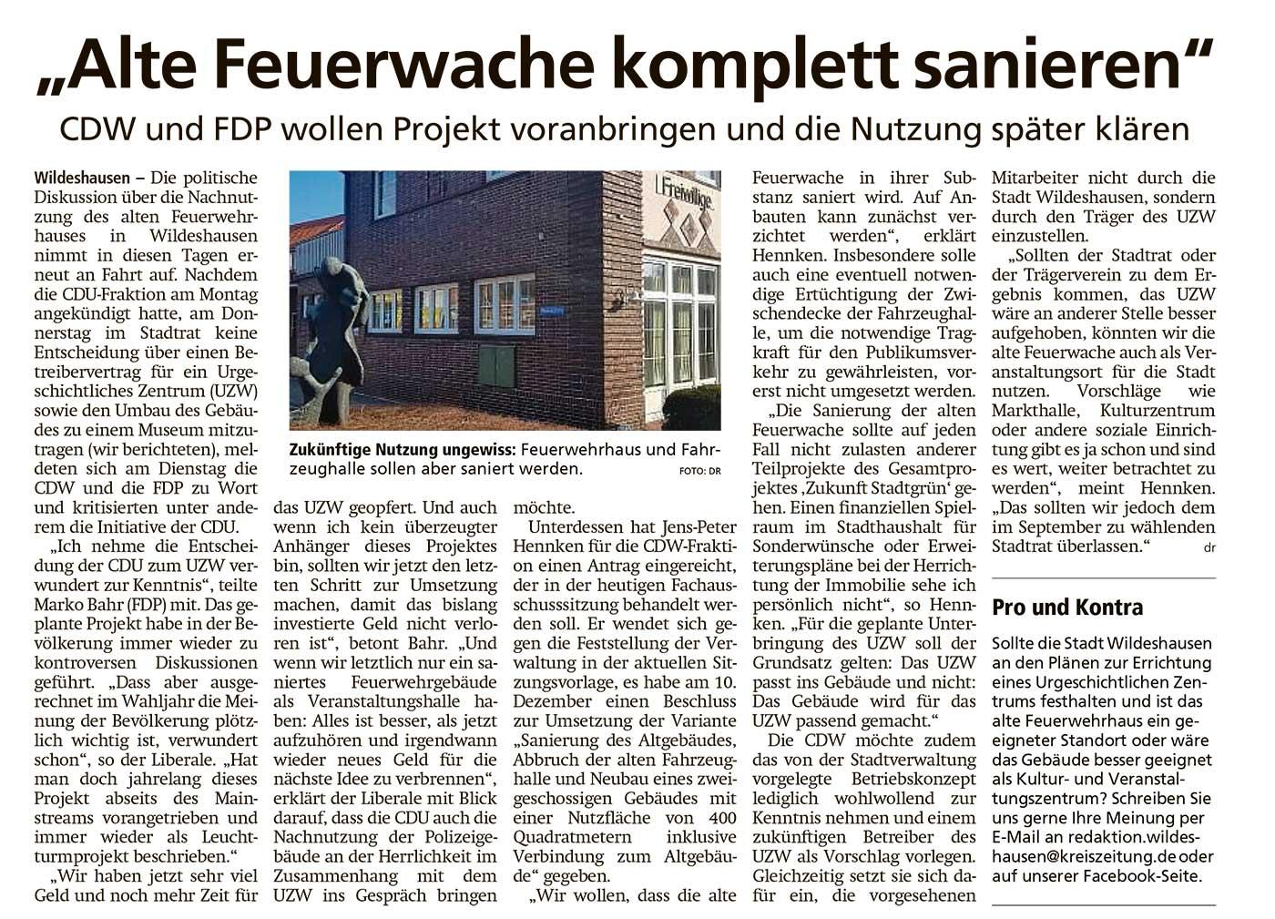 'Alte Feuerwache komplett sanieren'CDW und FDP wollen Projekt voranbringen und die Nutzung später klärenArtikel vom 14.04.2021 (WZ)