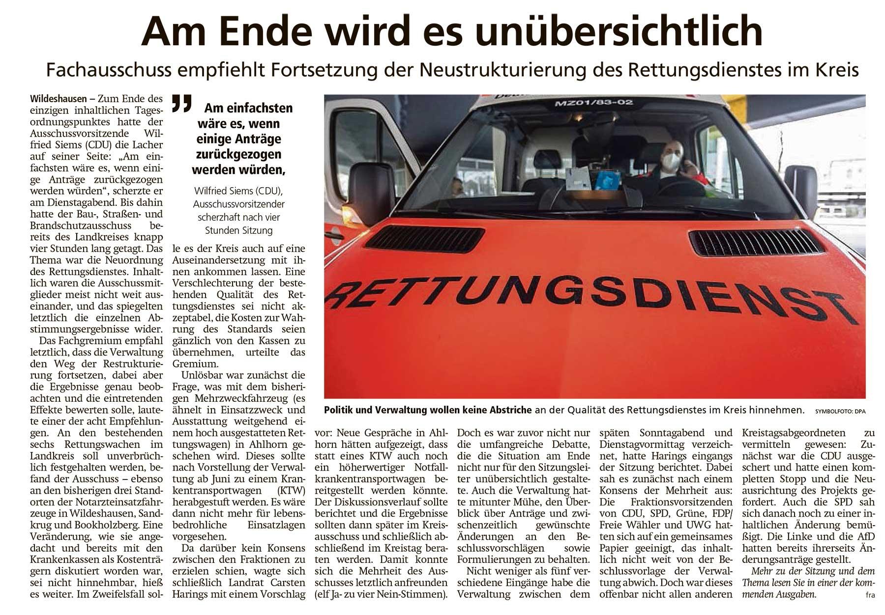 Am Ende wird es unübersichtlichFachausschuss empfiehlt Fortsetzung der Neustrukturierung des Rettungsdienstes im KreisArtikel vom 14.04.2021 (WZ)