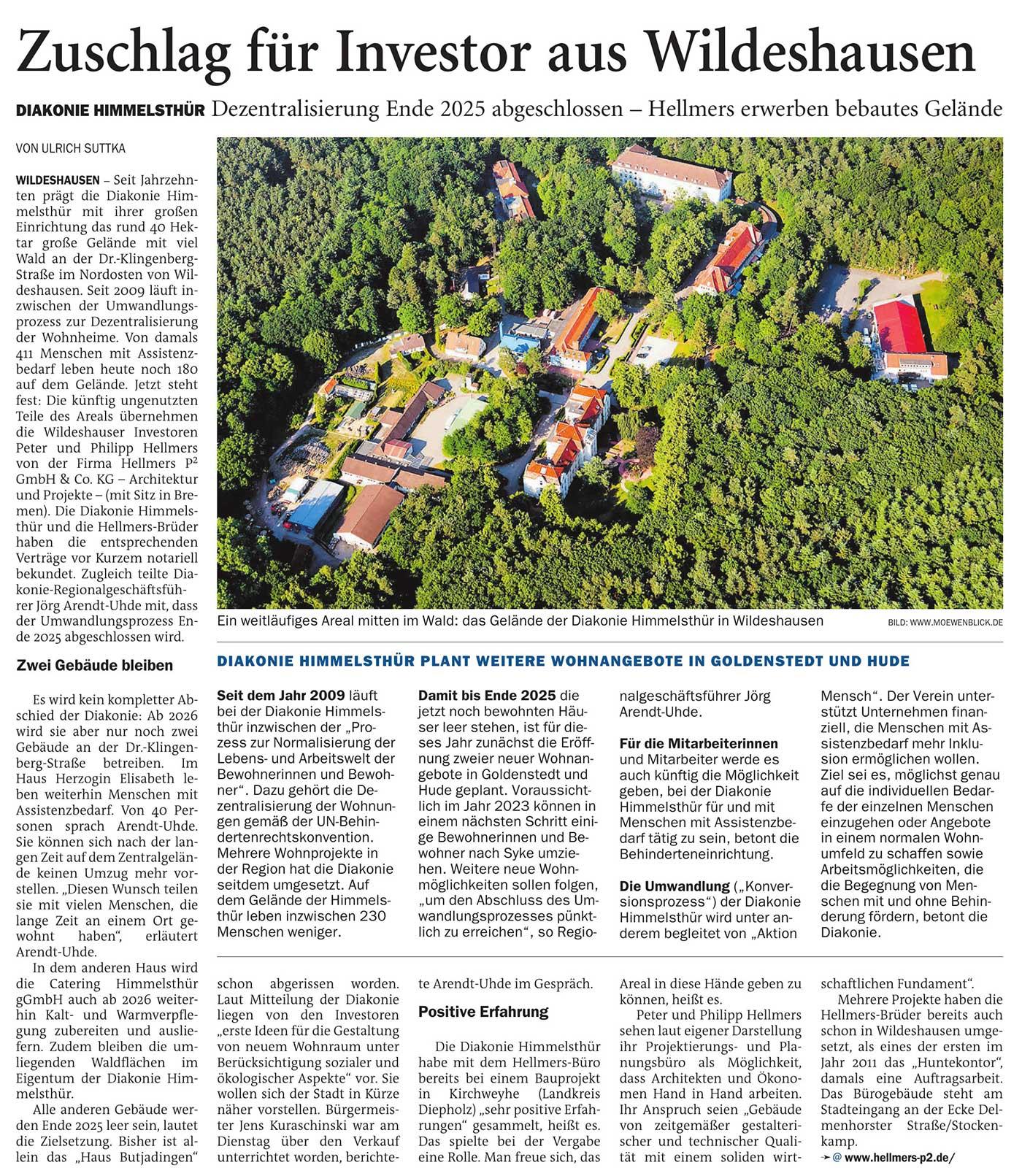Zuschlag für Investor aus WildeshausenDiakonie Himmelsthür: Dezentralisierung Ende 2025 abgeschlossen - Hellmers erwerben bebautes GeländeArtikel vom 15.04.2021 (NWZ)