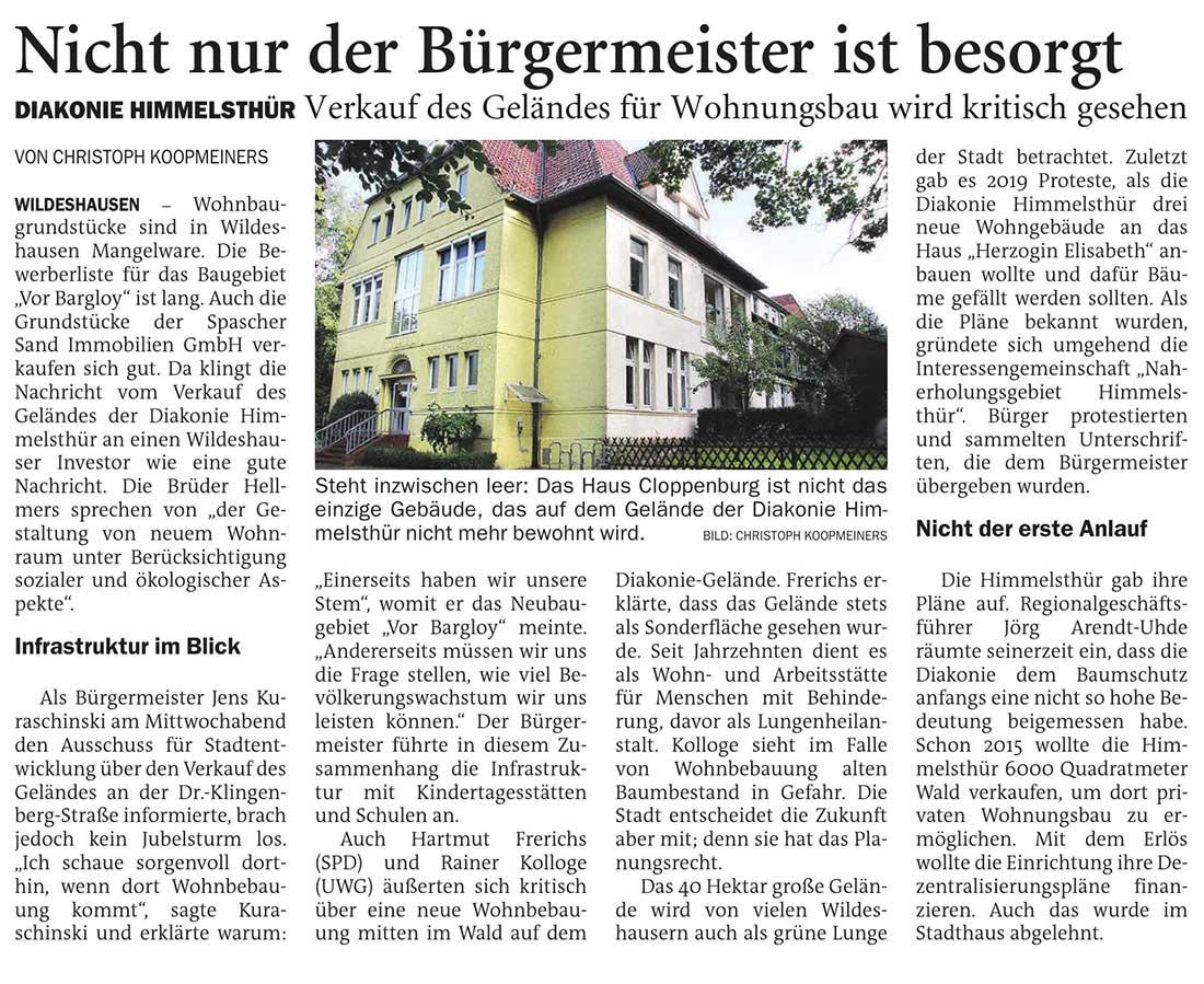 Nicht nur der Bürgermeister ist besorgtDiakonie Himmelsthür: Verkauf des Geländes für Wohnungsbau wird kritisch gesehenArtikel vom 16.04.2021 (NWZ)