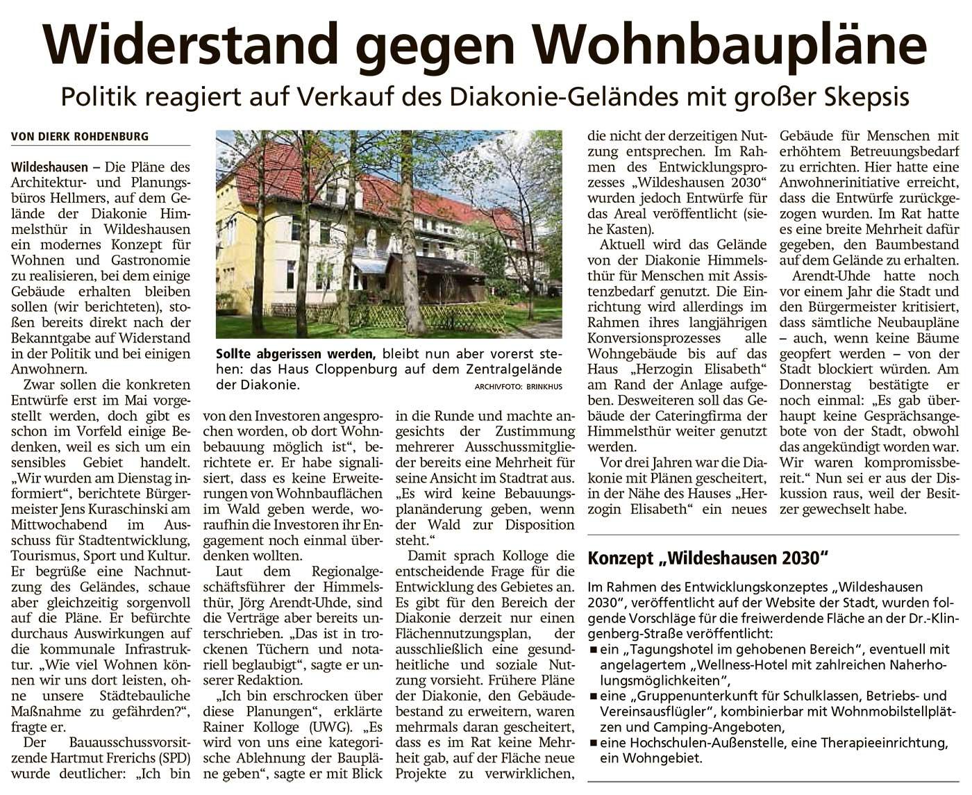 Widerstand gegen WohnungsbauplänePolitik reagiert auf Verkauf des Diakonie-Geländes mit großer SkepsisArtikel vom 16.04.2021 (WZ)
