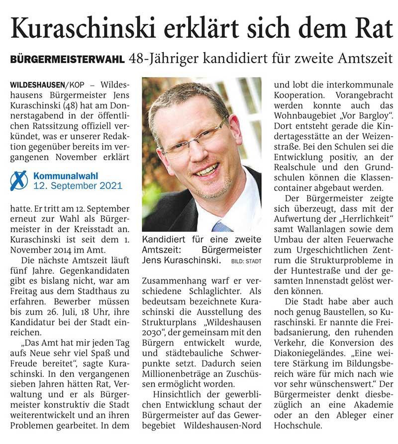 Kuraschinski erklärt sich dem RatBürgermeisterwahl: 48-Jähriger kandidiert für zweite AmtszeitArtikel vom 17.04.2021 (NWZ)