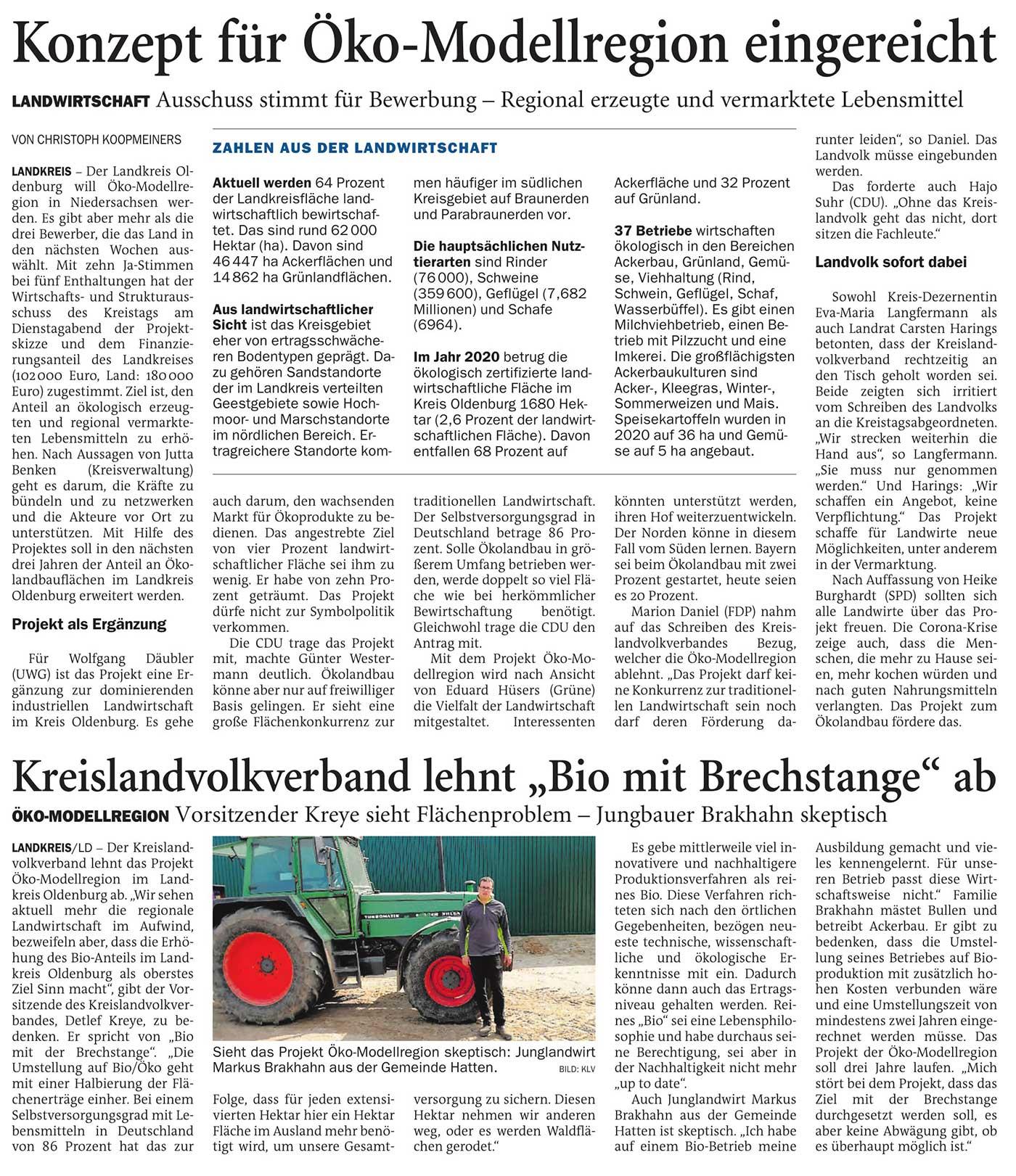 Konzept für Öko-Modellregion eingereichtLandkreis // Landwirtschaft: Ausschuss stimmt für Bewerbung - Regional erzeugte und vermarktete Lebensmittel // Kreislandvolkverband lehnt 'Bio mit Brechstange' abArtikel vom 22.04.2021 (NWZ)