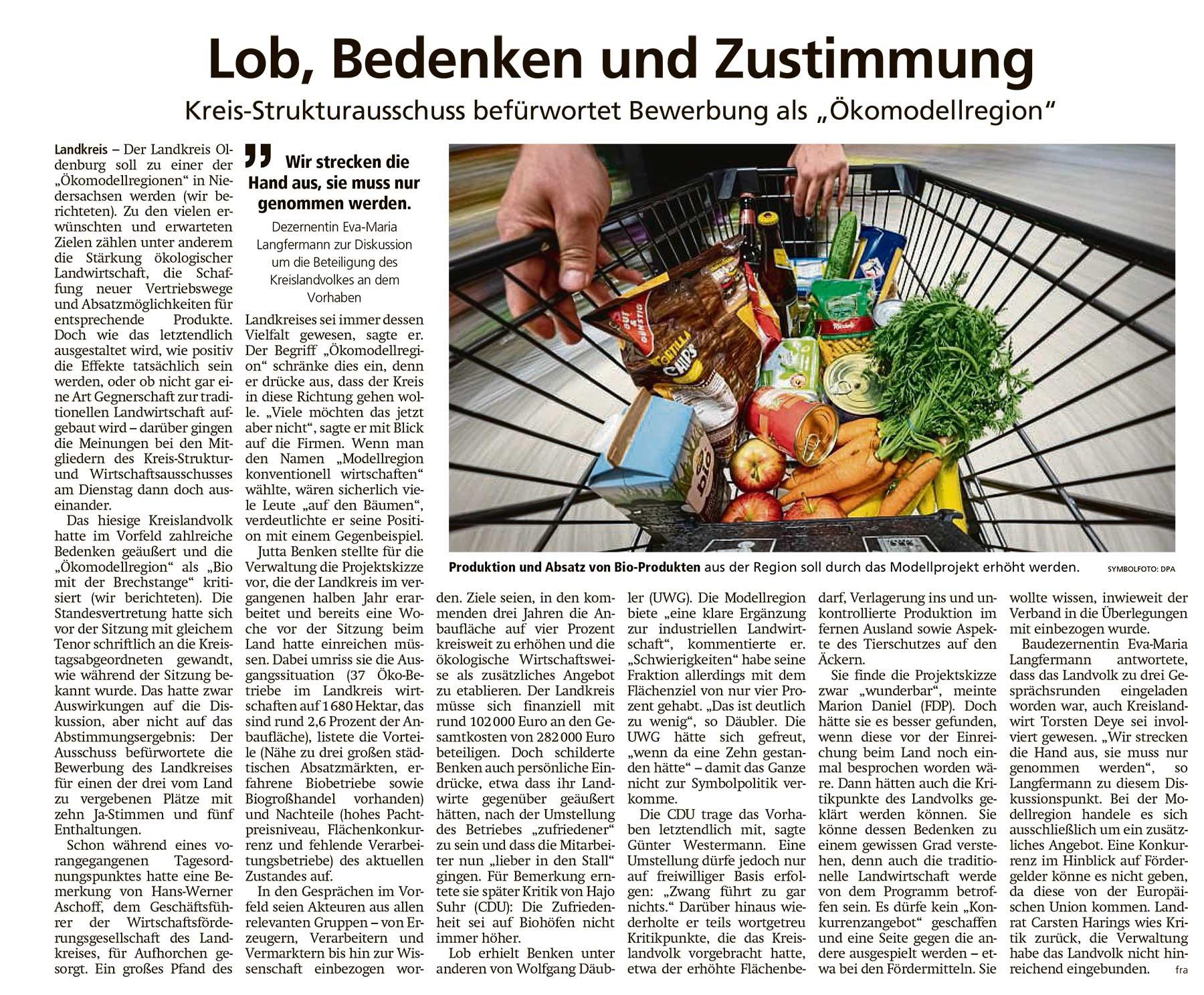 Lob, Bedenken und ZustimmungLandkreis // Kreis-Strukturausschuss befürwortet Bewerbung als 'Ökomodellregion'Artikel vom 22.04.2021 (WZ)