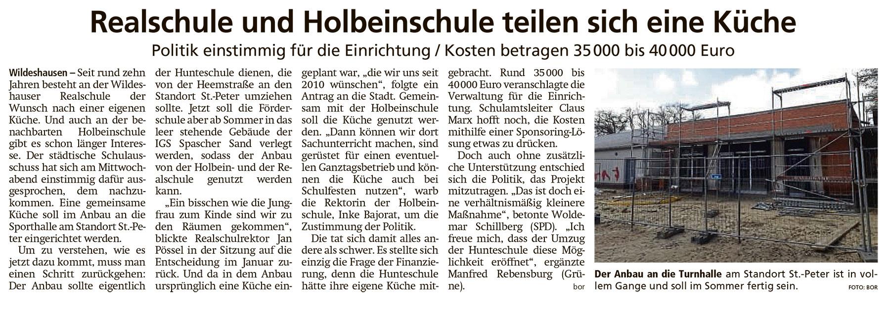 Realschule und Holbeinschule teilen sich eine KüchePolitik einstimmig für die Einrichtung / Kosten betragen 35 000 bis 40 000 EuroArtikel vom 23.04.2021 (WZ)