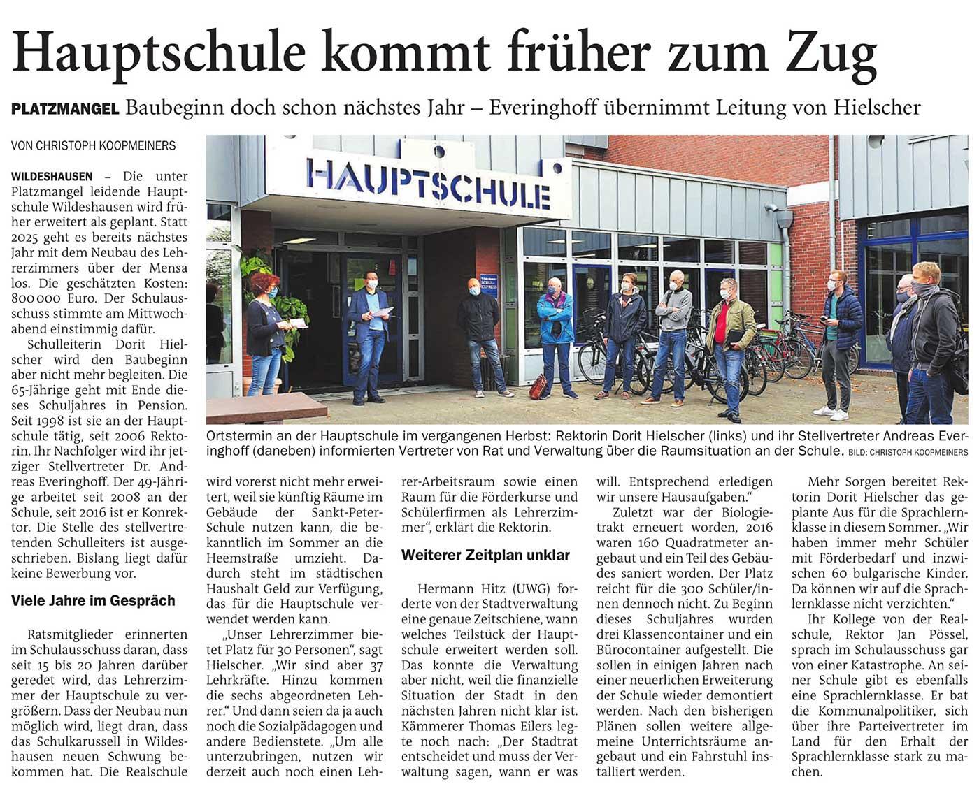 Hauptschule kommt früher zum ZugPlatzmangel: Baubeginn doch schon nächstes Jahr - Everinghoff übernimmt Leitung von HielscherArtikel vom 23.04.2021 (NWZ)