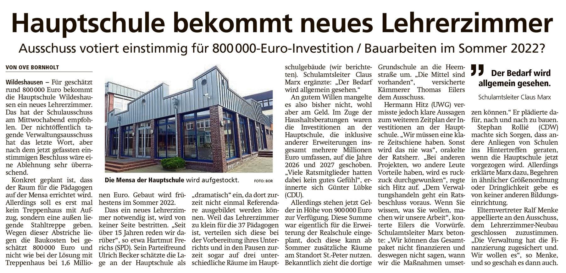 Hauptschule bekommt neues LehrerzimmerAusschuss votiert einstimmig für 800 000-Euro-Investition / Bauarbeiten im Sommer 2022?Artikel vom 23.04.2021 (WZ)