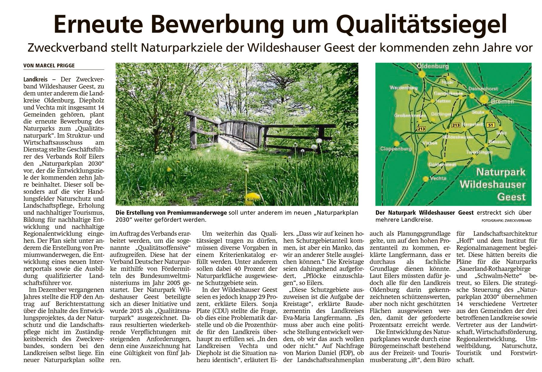 Erneute Bewerbung um QualitätssiegelZweckverband stellt Naturparkziele der Wildeshauser Geest der kommenden zehn Jahre vorArtikel vom 23.04.2021 (WZ)