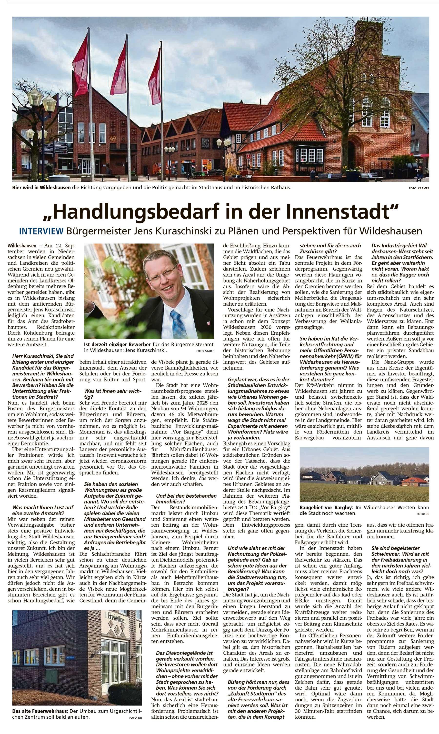 'Handlungsbedarf in der Innenstadt'Interview: Bürgermeister Jens Kuraschinski zu Plänen und Perspektiven für WildeshausenArtikel vom 27.04.2021 (WZ)
