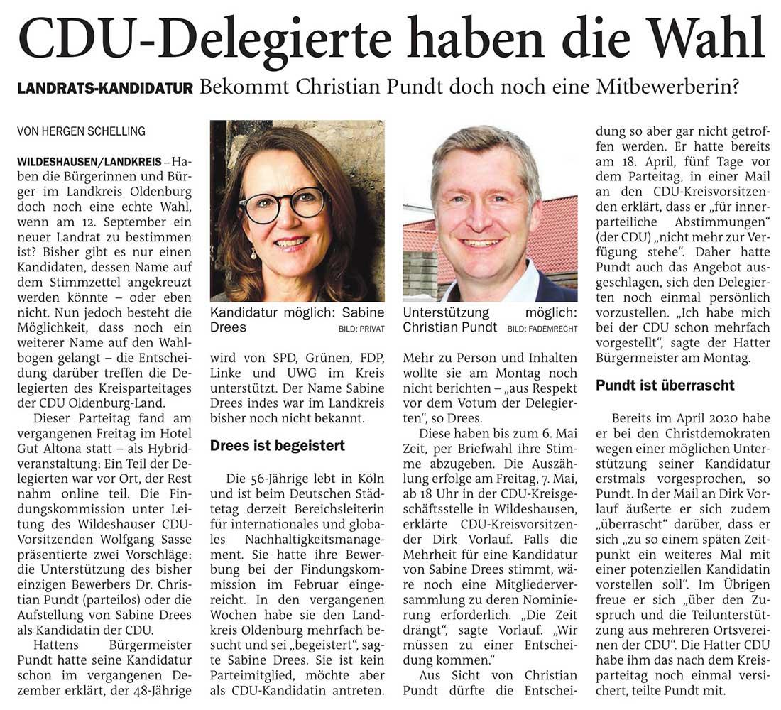 CDU-Delegierte haben die WahlLandrats-Kandidatur: Bekommt Christian Pundt doch noch eine MitbewerberinArtikel vom 27.04.2021 (NWZ)