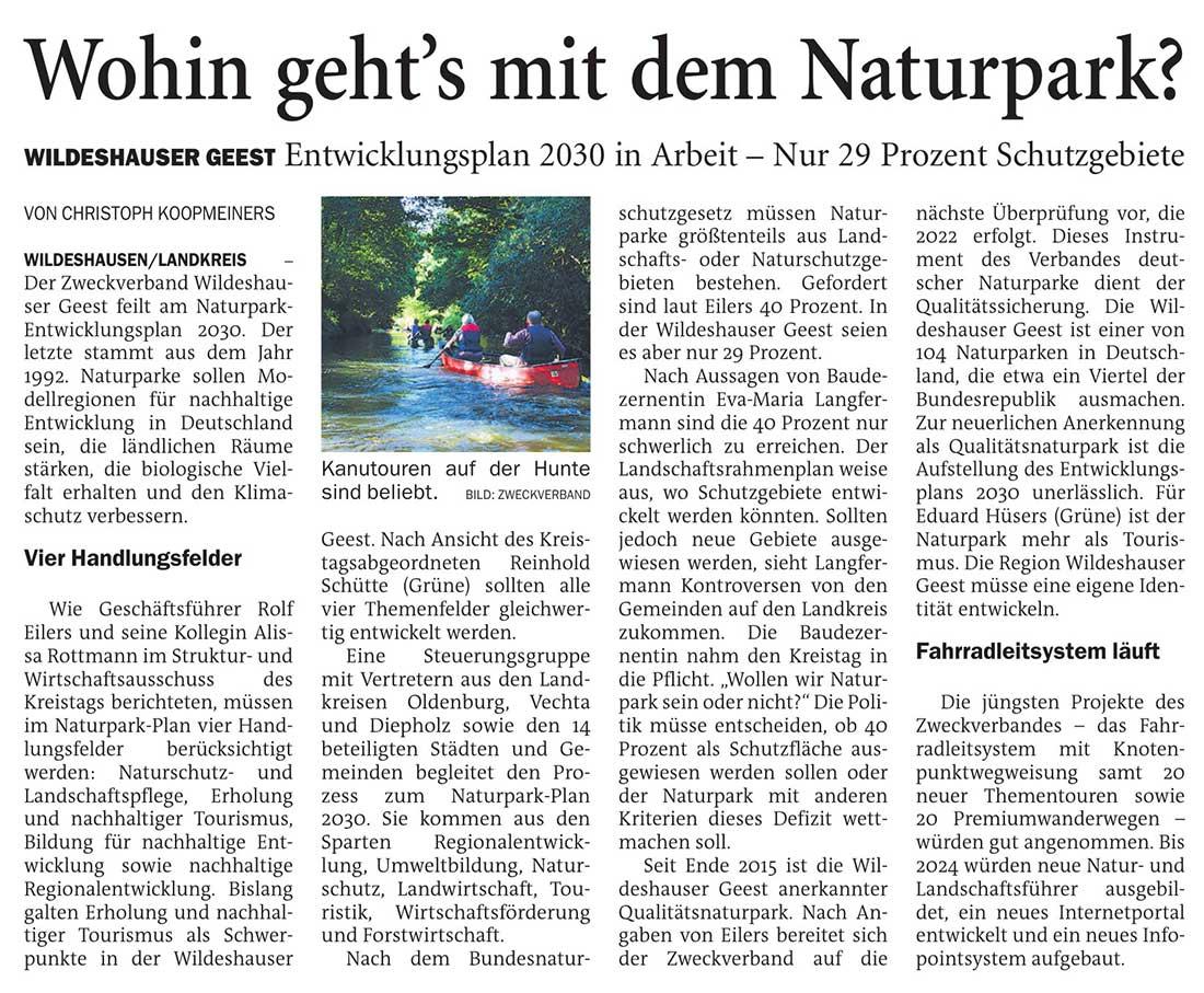 Wohin geht´s mit dem Naturpark?Wildeshauser Geest: Entwicklungsplan 2030 in Arbeit - Nur 29 Prozent SchutzgebieteArtikel vom 28.04.2021 (NWZ)