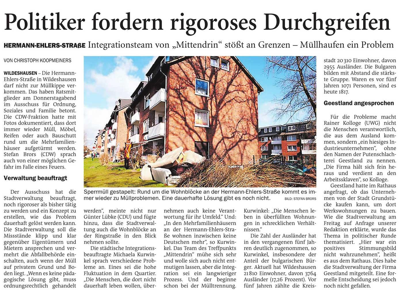 Politiker fordern rigoroses DurchgreifenHermann-Ehlers-Straße: Integragtionsteam von 'Mittendrin' stößt an Grenzen - Müllhaufen ein ProblemArtikel vom 03.05.2021 (NWZ)